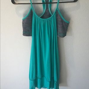 Lululemon NO LIMIT  tank - turquoise and gray sz 8